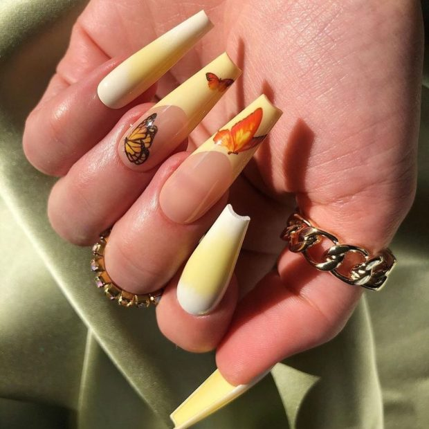 yellow butterfly nails summer nail designs for 2021