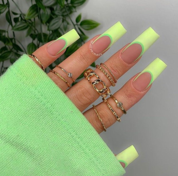 NEON GREEN FRENCH TIPS