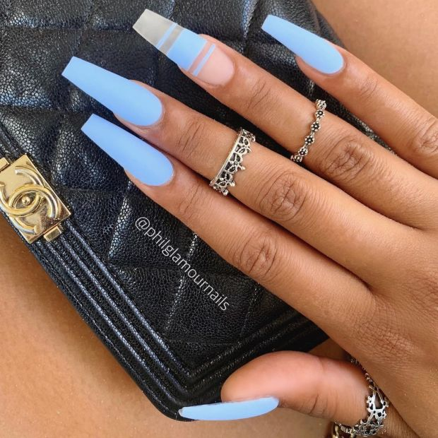 BLUE OMBRE summer nail designs for 2021