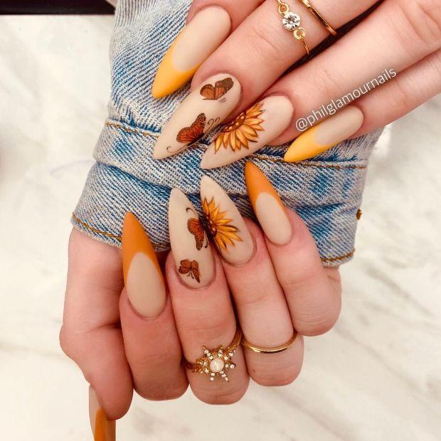 SUNFLOWER AND BUTTERFLIES summer nail designs for 2021