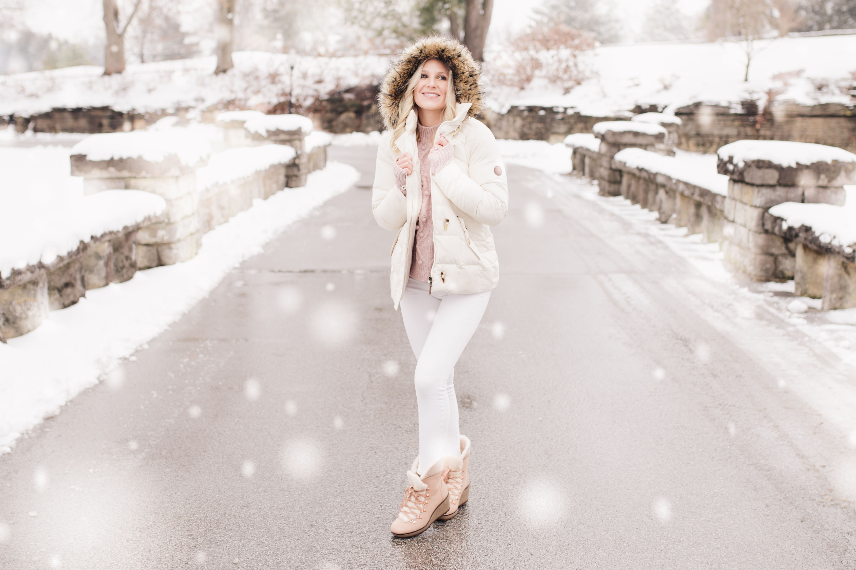 winter white look pink boots