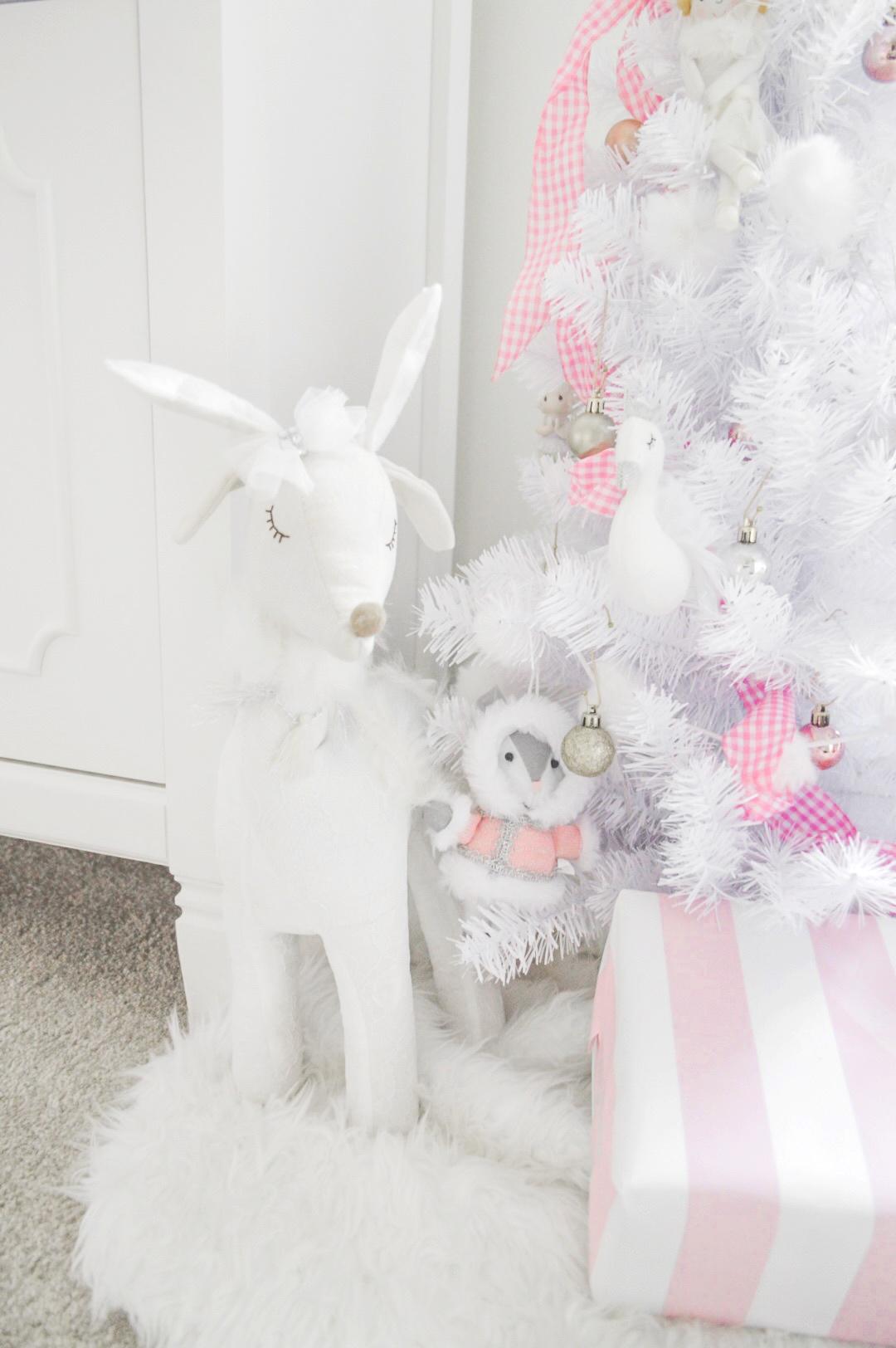 pink and white christmas decor reindeer