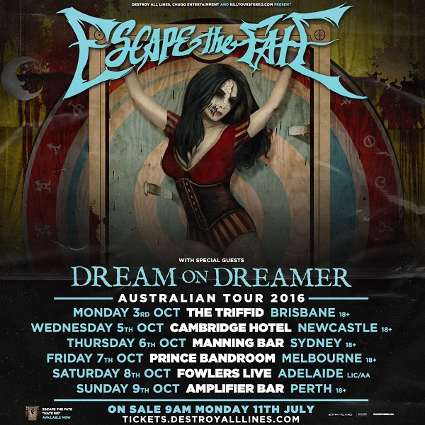 Image result for escape the fate australian tour 2016