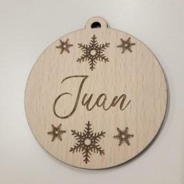 bola de navidad personalizada de madera snow mayuki