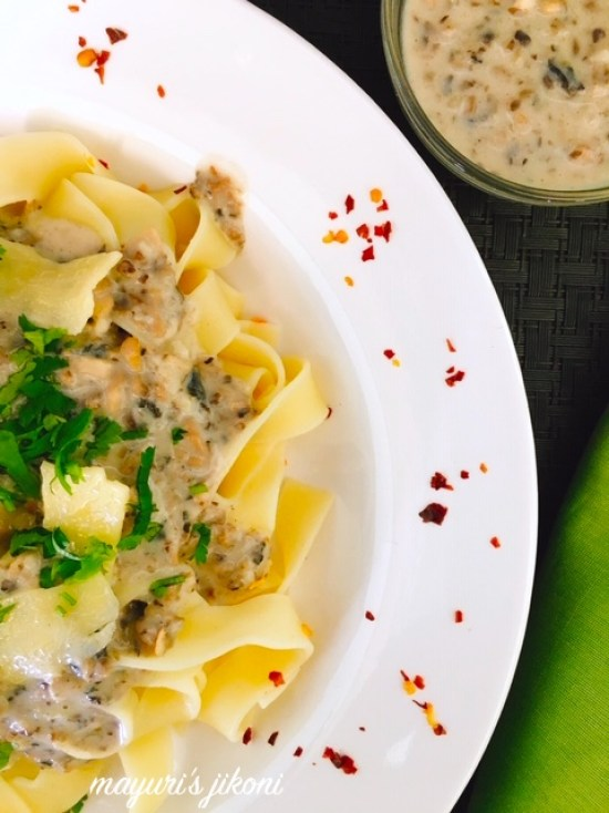 This image has an empty alt attribute; its file name is pasta-with-mushroom-sauce-1.jpg