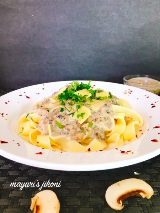 This image has an empty alt attribute; its file name is pasta-with-mushroom-sauce-2.jpg
