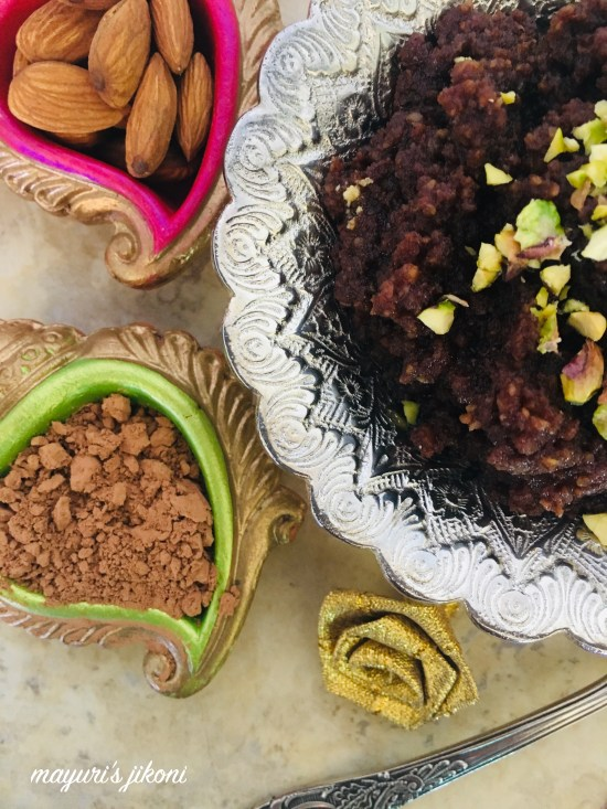 almond and chocolate halwa 7