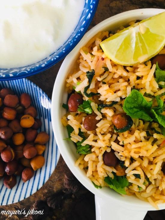 kala chana and spinach pulao 3
