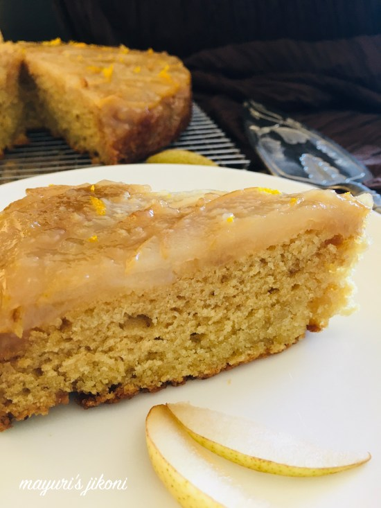 eggless pear upside down cake 7