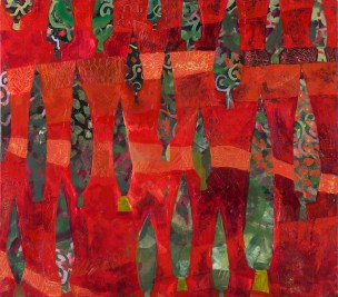 Cypresses in a Red Field #3, 2011, Acrylic, sold