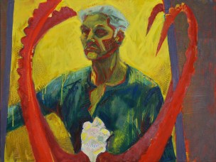 2012, Oil, Self portrait with ibex horns