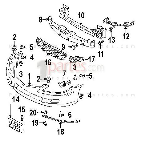 Rejilla inferior derecha (copiloto)|Mazda|6|GC1||Grupo