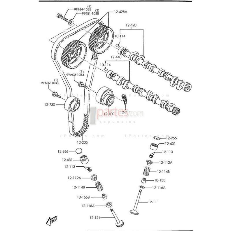 Arbol de levas de escape|Mazda|626|MX-6|Protege|Ford|Laser