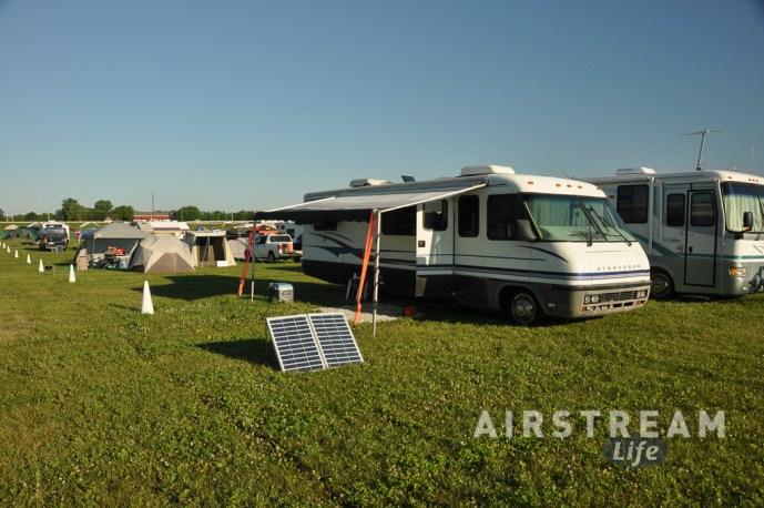OSH Airstream motorhome camped