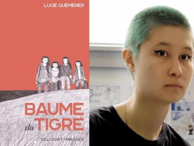 Lucie Quéméner et la couverture de sa première bande-dessinée : Baume du Tigre. Crédits : fc