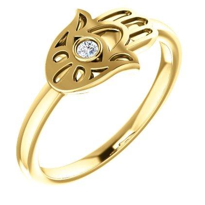 Diamond 14K Hamsa Ring Yellow Gold