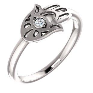 Diamond 14K Hamsa Ring