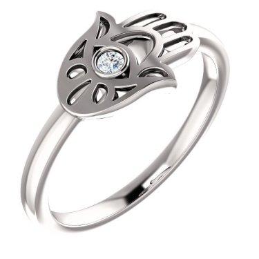 White Gold Diamond Hamsa Ring