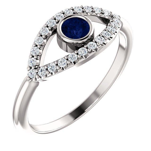 Evil Eye Ring 14K Gold Blue and White Sapphire