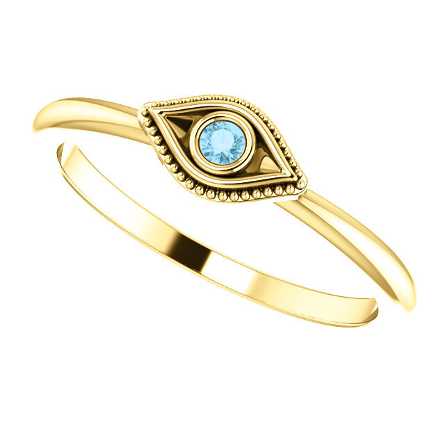 Evil Eye Stackable Ring Gold 3