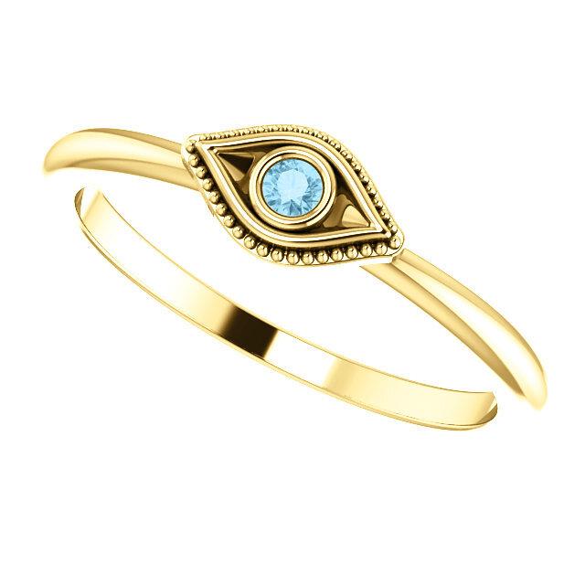 Evil Eye Stackable Ring Gold 3