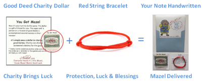 Send a Gift of Luck Red String plus good luck Dollar plus hand written card