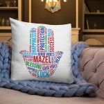 Hamsa Hand Decorative Art Pillow Blessing and Protection