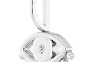 Evil Eye Diamond Charm Pendant White Gold 2