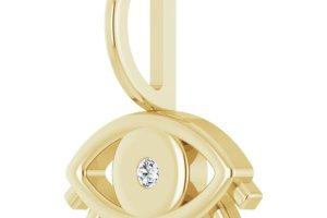 Evil Eye Diamond Charm Pendant Yellow Gold 2