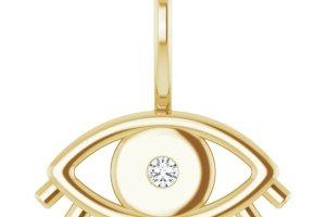 Evil Eye Diamond Charm Pendant Yellow Gold