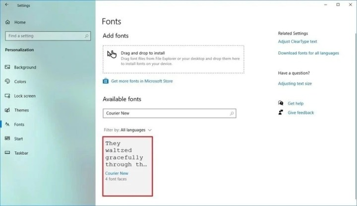 This picture shows the process of how to change Font in Windows 10.