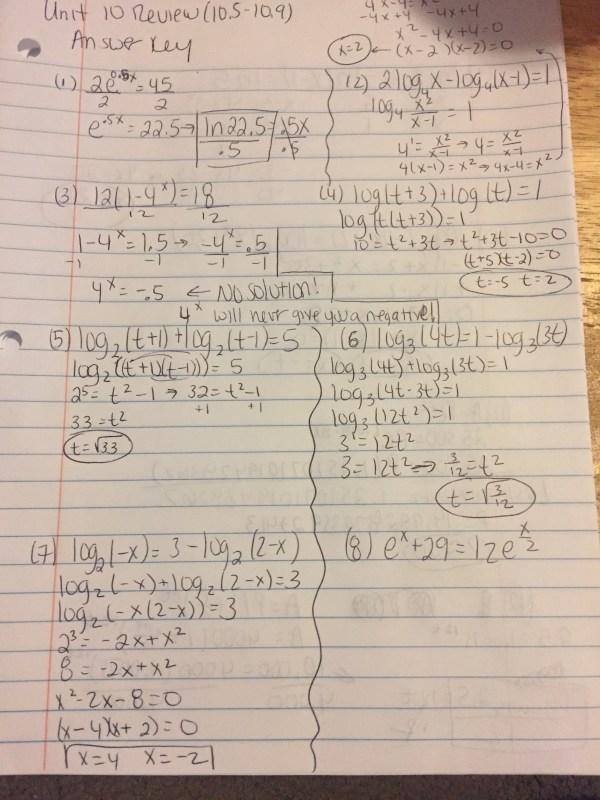 Common Core Algebra Ii Unit 4 Lesson 10 Logarithm Laws