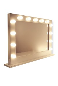 Illuminated Mirrors Table Top Mirror in High Gloss White - jwc