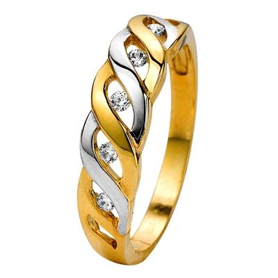 14karaat bicolor ring met zirkonia  Lucardinl