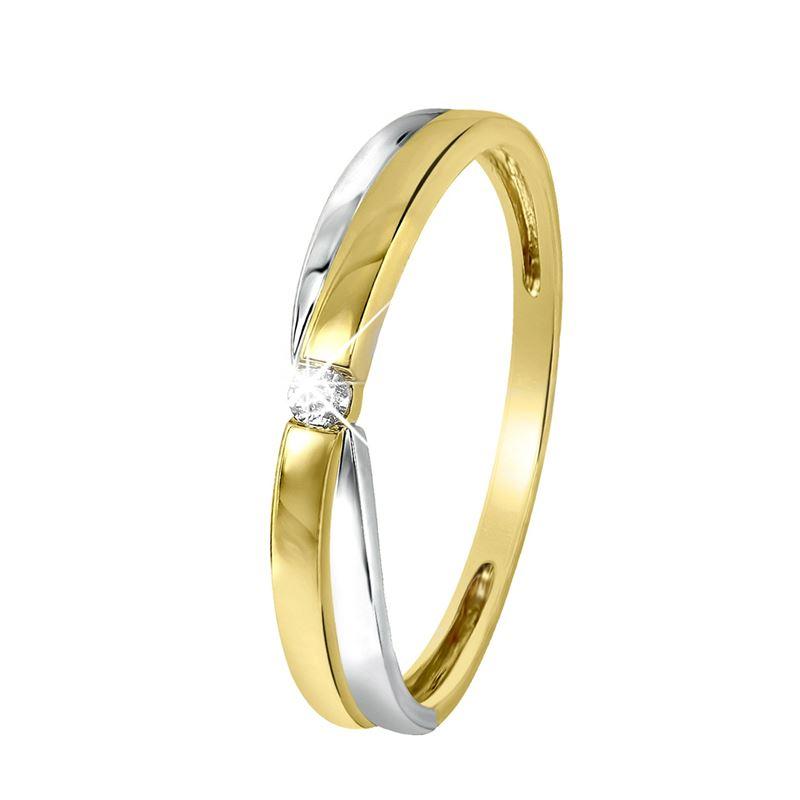 14 Karaat bicolor ring met diamant  Lucardinl