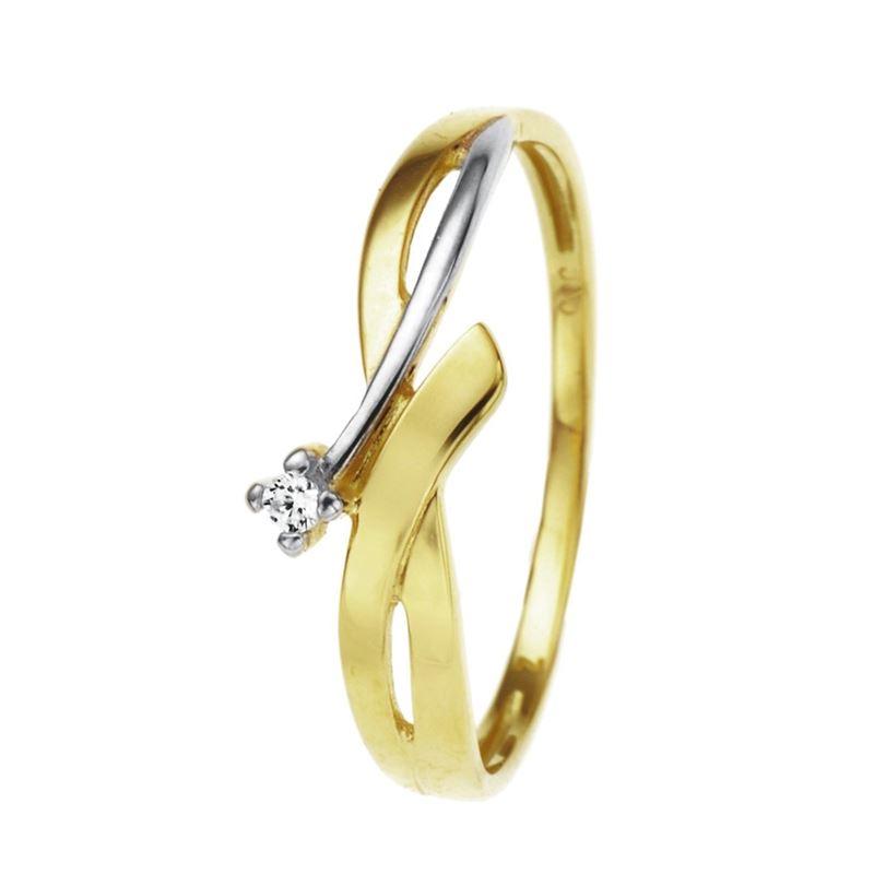 Bicolor gouden ring met zirkonia  Lucardinl