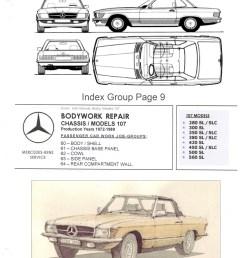 mercedes workshop manual bodywork repair r107 450sl c107 450slc frame diagram [ 2480 x 3229 Pixel ]