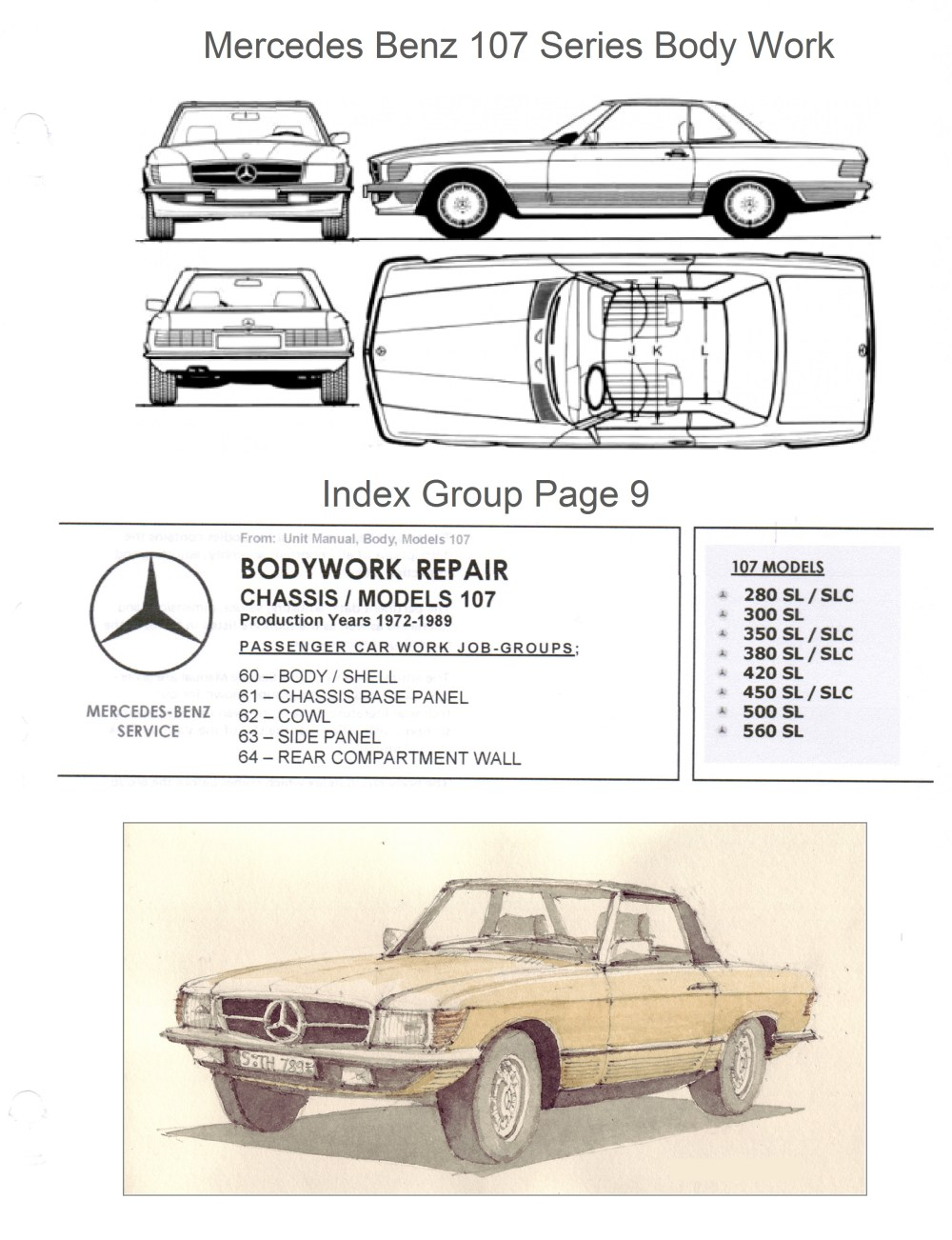 medium resolution of mercedes workshop manual bodywork repair r107 450sl c107 450slc frame diagram