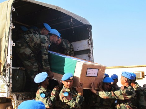 The remains of our two colleagues from the Indian Battalion killed in action arrived to Juba for a memorial ceremony. UN Photo/Rolla Hinedi