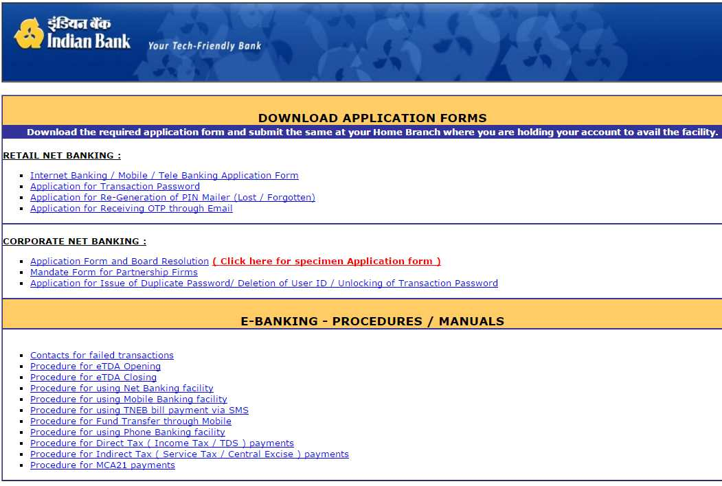 Indian Bank Net Banking Application 2020 2021 Mba