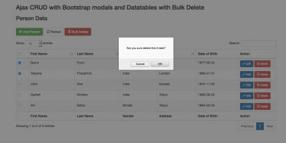 Ajax crud with boostrap modals and Datatables with Bulk delete (bulk delete action)