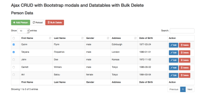 Ajax crud with boostrap modals and Datatables with Bulk delete