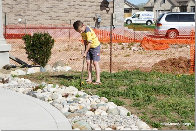 Boy digging in grass