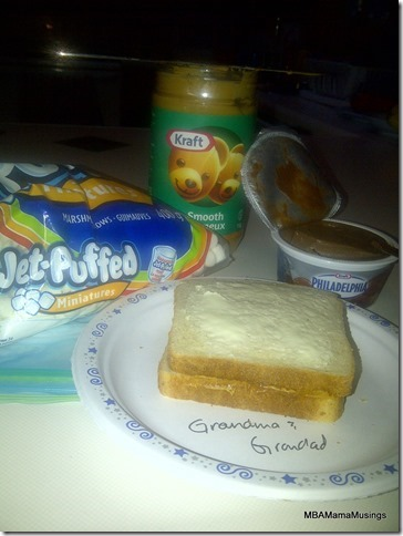 Kraft peanut butter, Jet puffed Marshmallows, and Philadelphia chocolate cream cheese between buttered bread for pie iron pies