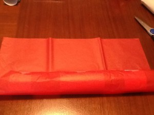 Toilet paper rolls wrapped in red tissue paper