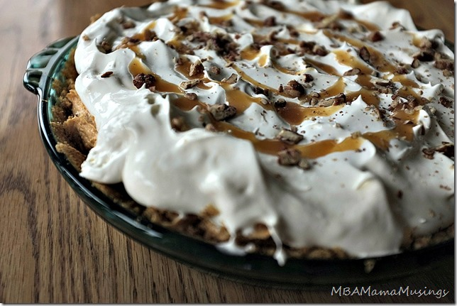 Closeup Layered Caramel Pumpkin Pie