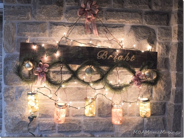 Painted Mason Jar Christmas Decor at Night