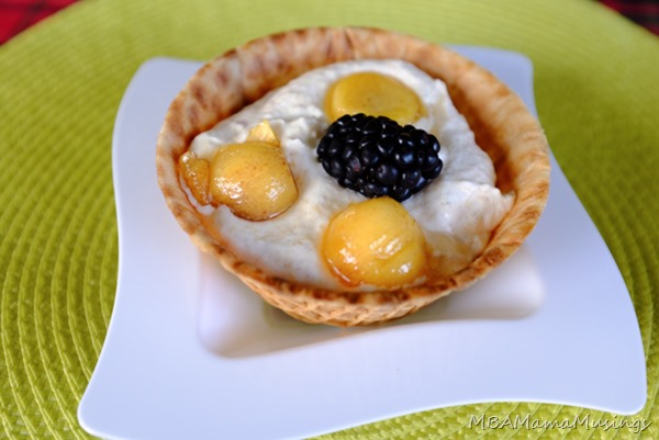 Persimon Cream Dessert in Waffle Bowl made with Persimon Persimmons
