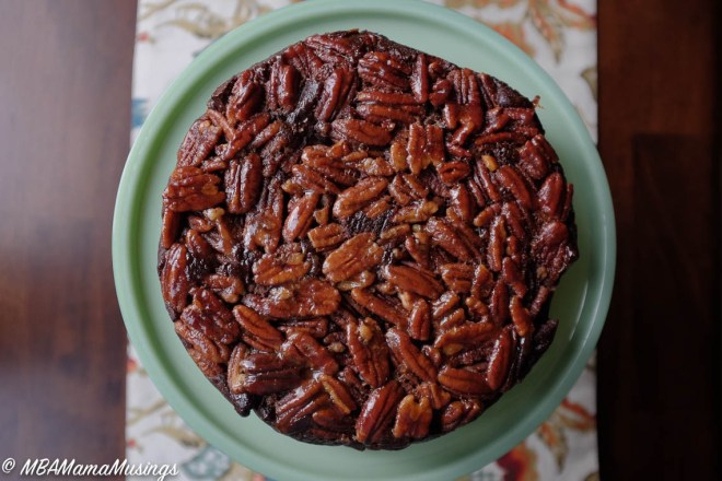 Chocolate Caramel Pecan Upside-Down Cake #BestofBridge