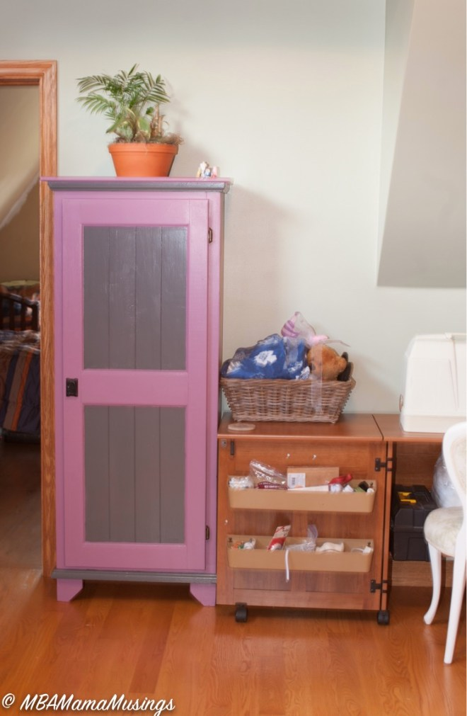 Purple Grey Repainted Pine Hutch